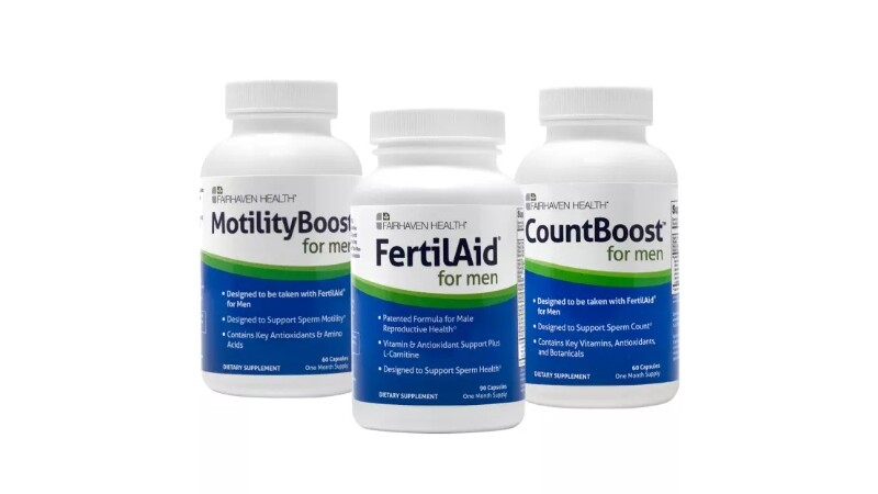 Fairhaven Health FertilAid, MotilityBoost and CountBoost for Him, Fertility Supplement Bundle